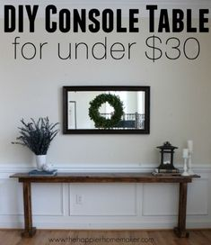 For our Home diy console table How much water does a lawn really need? Well, while your soil type, t Diy Wood Projects, Furniture Projects, Home Projects, Diy Furniture, Simple Projects, Furniture Movers, Coaster Furniture, Luxury Furniture, Painted Furniture