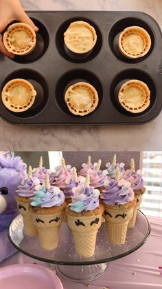 Unicorn Cupcake Cones How to bake cupcakes inside of an ice cream cone. Unicorn cupcake cones for a birthday party for kids. Colorful unicorn dessert treat idea to make. Baking Cupcakes, Cupcake Recipes, How To Bake Cupcakes, Unicorn Themed Birthday Party, Pink Birthday, Birthday Party Foods, Diy Unicorn Party, 8th Birthday, Birthday Cards
