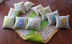 Zlacnená!!! Edukačná sada = Zateplená flísová deka + 10 vankúšov by HEDERVIGA - SAShE.sk - Handmade Textil