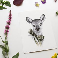 Sweet Fawn Print 5x7 Framed