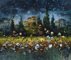 """thunderstruck9: """" Eric Roux-Fontaine (French, b. 1966), À la belle étoile [Under the Stars]. Pigments, acrylic and marble dust on canvas, 120 x 140 cm. """""""