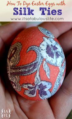 How to dye Easter Eggs with Silk Ties. Wonder if it will work on plastic eggs so you can use them in a basket for decoration all year long?
