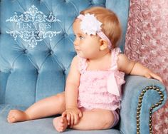 White Chiffon Rosette and Pink Damask Baby Headband and Pink Lace Petti Romper Set From KemailyBoutique