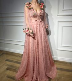 Beautiful pink dress gown floral flowers haute couture Teuta Matoshi Duriqi