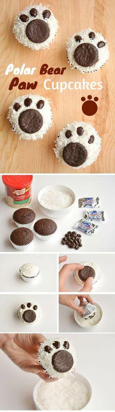 Get the recipe ♥ Polar Bear Paw Cupcakes #recipes @recipes_to_go