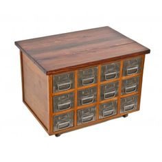 custom-built american industrial repurposed pressed metal multi-drawer coffee table or mobile cabinet with darkly stained finish