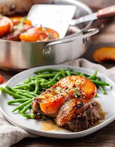 Balsamic Pork Chops, Peach Pork Chops, Pork Chop Recipes, Meat Recipes, Gorgonzola Pasta, Fresh Peach Recipes, Recipe Cover, Chops Recipe, Food Test