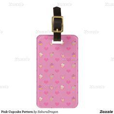 Pink Cupcake Pattern Travel Bag Tag #pink #food #cupcakes #dessert #sweet