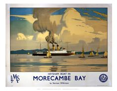 Image of 'heysham boat in morecambe bay', lms poster, by Science & Society Picture Library View and buy rights managed stock photos at Science & Society Picture Library. British Travel, National Railway Museum, Morecambe, Railway Posters, Vintage Travel Posters, Poster Size Prints, Illustrations Posters, Fine Art Prints, Northern Ireland