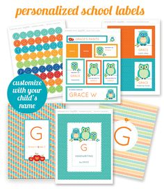 Free Printable Personalized School Supply Labels, Great for getting your kids school items organized
