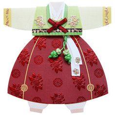 Korean Hanbok Card - unique design for gift - Red color - Korean traditional costumes Hanbok. $6.00, via Etsy.