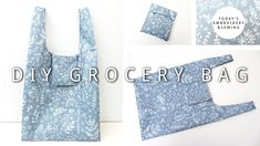 How to Make Shopping Bags that Fold into a Pouch, Reusable Foldable Grocery Bags Diy Reusable Bags, Reusable Shopping Bags, Bag Pattern Free, Bag Patterns To Sew, Folding Shopping Bags, Diy Tote Bag, Tote Bags, Couture, Plastic Spoons