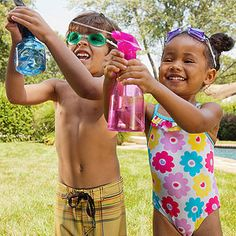 Water War     Get ready for some backyard fun. Gather the neighborhood kids (or play this at a summer birthday party) and split into two equal teams. Cut out circles from two different colors of construction paper, one color per team and one circle per child. Each player gets a spray bottle in her hand and a circle taped to her back. If your circle gets wet, you're out. Last team standing wins!