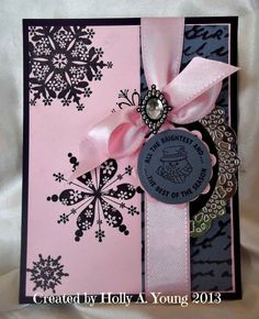 Card: Pink, Gray and Black Christmas card