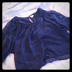I just added this to my closet on Poshmark: Blue sheer cut out top. Price: $10 Size: XL