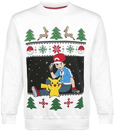 Pokemon Pikachu & Ash Christmas Sweater Jersey Blanco XXL #camiseta #starwars #marvel #gift