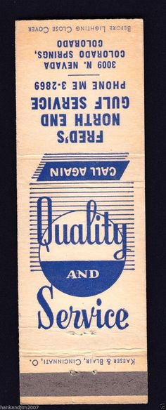 matchbook for Fred's North End Gulf Service Station at 3009 N. Nevada Ave. in Colorado Springs, CO