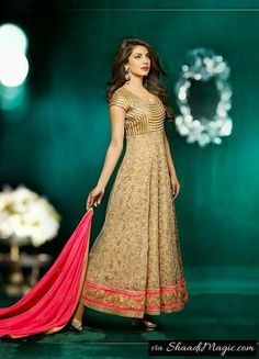 Priyanka Chopra Photo Shoot For Golden Anarkali Suit.  Miss. India has been also found wearing the anarkali suit at fashion shows and while attending events across her schedule.