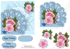 Pink Rose Blue Fan  on Craftsuprint designed by Vicki Avcin ~ AusCrafts - Quick easy cards to make up with a corner fan.Glue the tabs under the…