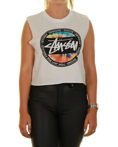 Inseption - Ladies - Stussy - Stussy Dot Crop Muscle - White