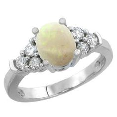 Sabrina Silver 10K White Gold Natural Opal Ring Oval 9x7mm Diamond Accent  sizes 5-10