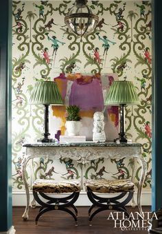 The designer continued her spirited theme in the adjacent hallway niches.