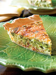 Asparagus and Bacon Quiche - 7PP - using FF 1/2&1/2, frozen crust, mozz and turkey bacon - *made it and it was good!*