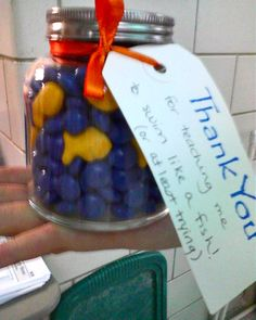 DYI gift, M's filled jar with fishes, for swim lessons, could replace the goldfish with hearts for valentines day, etc.