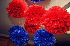 Pom pom nas cores da festa do Homem Aranha