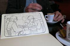 Café y bocetos