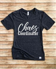 Unisex Tri-Blend V-Neck T-Shirt Chaos Coordinator - Funny Mom Shirt by BirchBearCo on Etsy