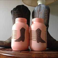 This listing is for Cowboy/girl boot mason jars in various sizes and quantities! Great for gifts, centerpieces, and flowers! If the insides of the jars are painted, it is not recommended that you stor