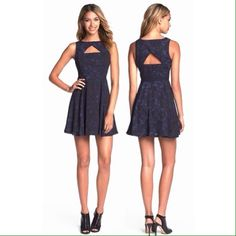 """BB Dakota Della fit & flare cutout dress Size 4. Triangle cutouts in front and back amp up the flirty factor of a sweetly flounced dress cast in an ethereal inky print. 35"""" length (size 8). Hidden back-zip closure. Lined. Polyester; hand wash or dry clean. BB Dakota Dresses Mini"""