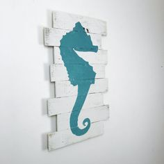 Teal Green Sea Horse Nautical Decor Rt face 18x30 by WoodburyCreek