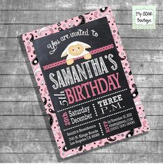 Birthday Party invitation chalkboard lamb pink by myooakboutique etsy store