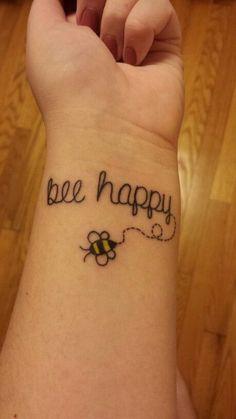 Bee happy tattoo simple fun tattoo | Tattoos | Pinterest