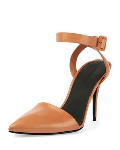 S0CCY Alexander Wang Lovisa Leather Pointed-Toe Pump, Natural