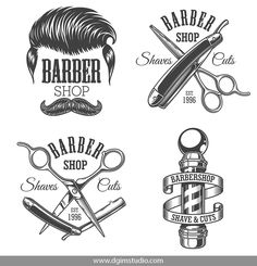 Old school style barbershop prints with modern hairstyle, barber pole, crossed scissors and razors. Barber Tattoo, Barber Logo, Barber Shop Interior, Barber Shop Decor, Best Barber Shop, Old School Barber Shop, Tattoo P, Old School Style, Shaving Cut