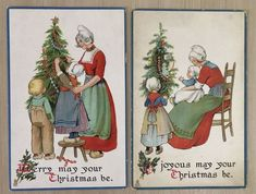 """Lot of 2 """"Happy Home"""" Dutch Children & Mothers TUCK Christmas Postcards-p851 #Christmas"""