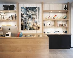 Retail Store Design Photo - Open shelving displaying bags and surfboard fins - Saturdays Surf NYC Retail Counter, Store Counter, Counter Tops, Retail Store Design, Retail Shop, Surf Store, Regal Display, Store Layout, Counter Design