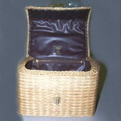 60s plastic coated bamboo straw basket handbag by pinehaven2, $19.50