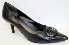 Nine West 'Lynxo' Black Leather Pump Size 8M #NineWest #PumpsClassics