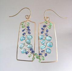 Long Blue Earrings Rectangular Earrings with Sea Glass #seaglassearringsideas