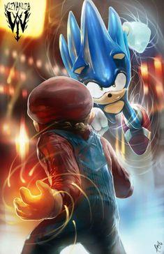 Mario vs Sonic by Wizyakuza