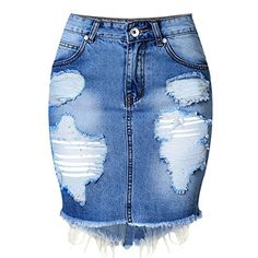 Felove Women's Hole Washed Denim Package Hip Short Skirts Plus-Size