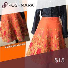 Vintage Midi Skirt Beautiful flower 🌺 & Butterfly Orange MIDI SKIRT! ✨VERY NICE✨ . . 📏Size: Large Waist: 32-34 Length: 24 Vintage Skirts Midi