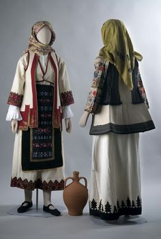 Traditional clothing of Maroussi decorated at the hem with special colorful embroidered pattern prevailing attire Northern Attica, the Mastrapas. Greek Traditional Dress, Traditional Art, Traditional Outfits, Folk Costume, Costumes, Greek Art, Historical Costume, Kimono Top, Bohemian