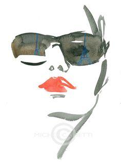 Illustration by Michel Canetti Fashion Illustration Face, People Illustration, Portrait Illustration, Graphic Illustration, Fashion Illustrations, Fashion Graphic, Fashion Art, Trendy Fashion, David Downton