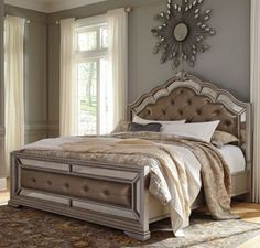 This Birlanny Upholstered King Bedroom Set is made with ash swirl and birch veneers as well as select hardwood solids finished in a silver tone with subtle glazing effects. Bedroom Panel, Silver Bedroom, Bedroom Design, Furniture, Upholstered Panel Bed, Bedding Master Bedroom, Bedroom Set, Upholstered Beds, Bedroom Furniture