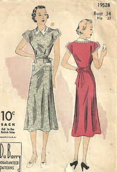 DuBarry 1952 Vintage 1930s Sewing Pattern // Dress // Bust 34